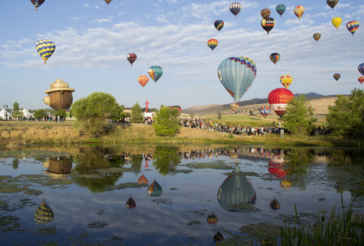 Hot air balloons gather for the Great Reno Balloon Race. Photo credit: VisitRenoTahoe.com